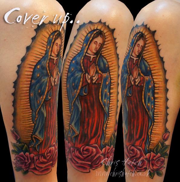Virgen de guadalupe virgin mary chris hatch tattoo for Virgen de guadalupe tattoo
