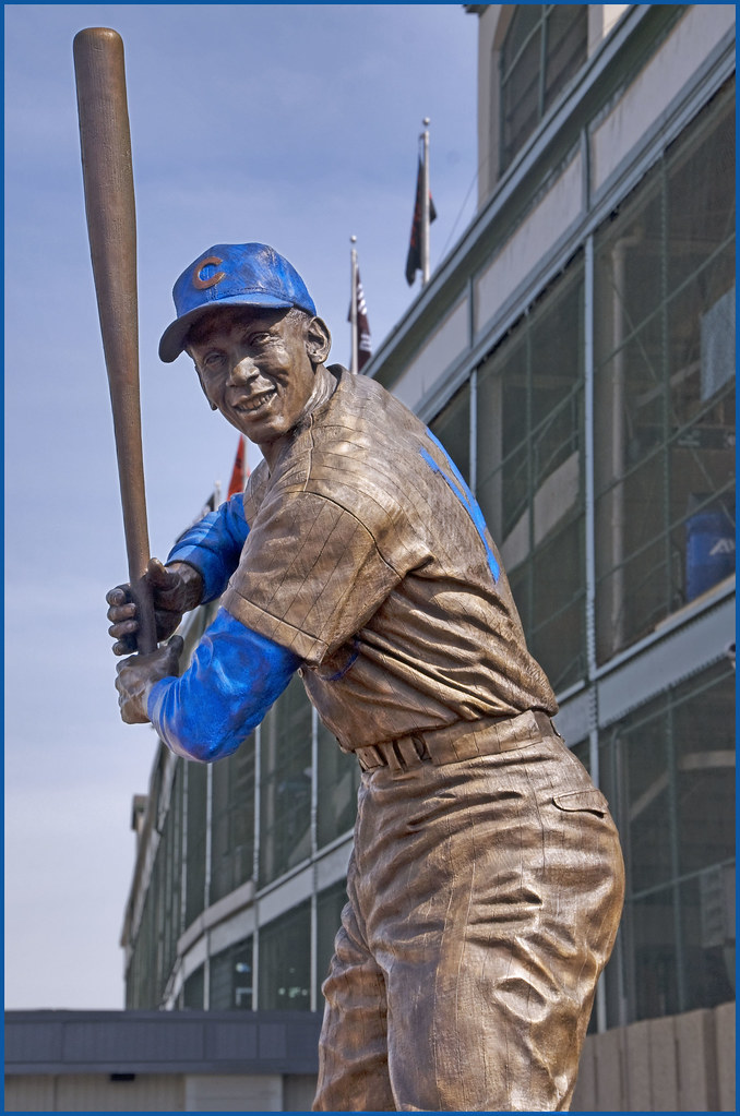 Sculpture of Mr. Cub in front of Wrigley Field