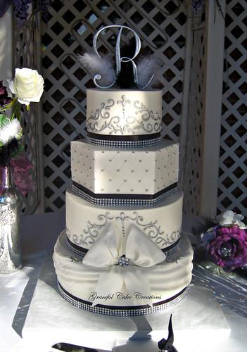 Black White And Silver Wedding Cake Ideas