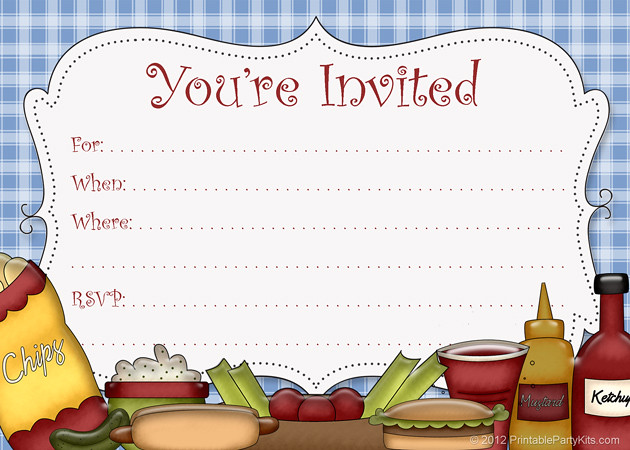 Ridiculous image with regard to free printable cookout invitations