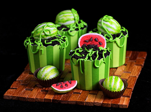 Watermelon Cake Ball Cupcakes | by IrishMomLuvs2Bake