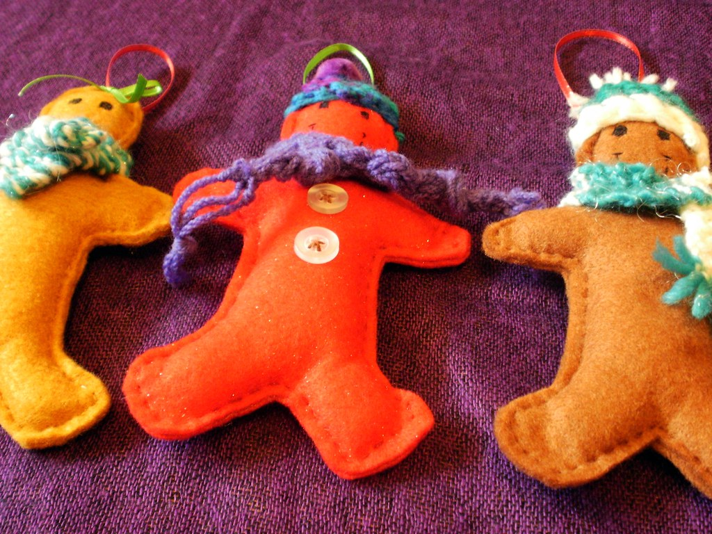 gingerbread men decorations Hand sewn felt gingerbread