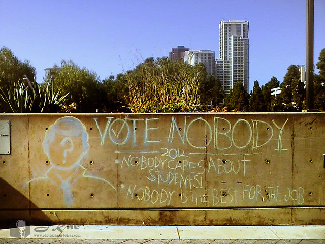 San diego city college written in chalk on the wall quot vote nobody