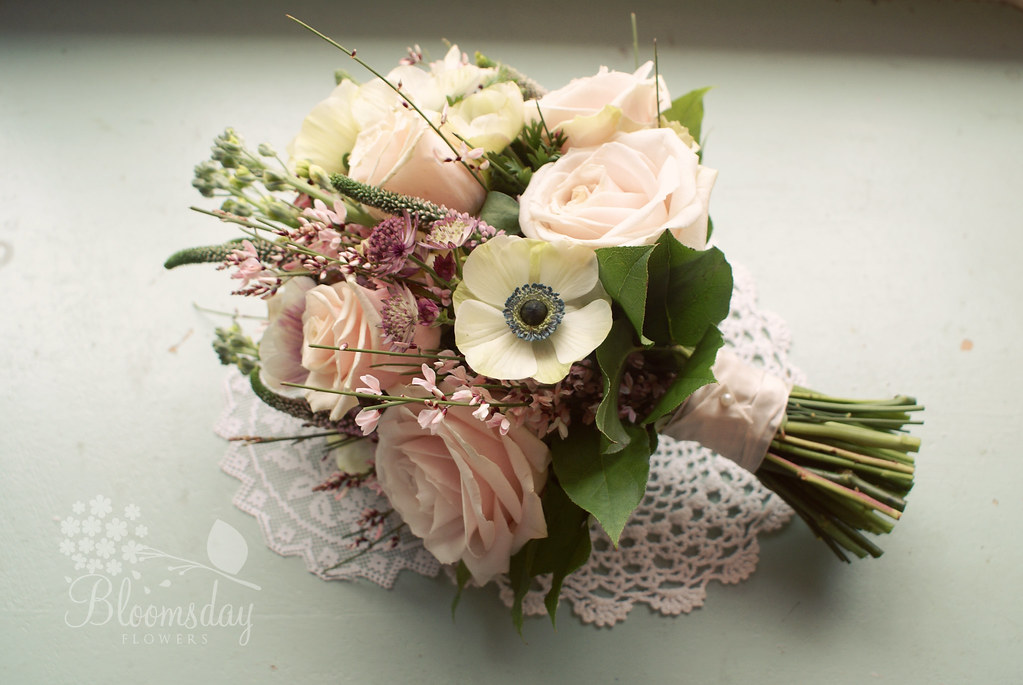 Vintage Floral Wedding Bouquets : Vintage style pink bridal bouquet of anemones