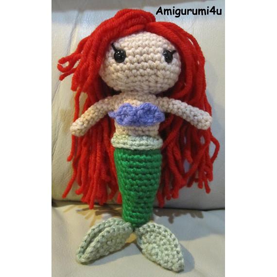 Free Amigurumi Crochet Patterns Disney : Ariel Disney Little Mermaid Handmade Amigurumi Crochet Dol ...