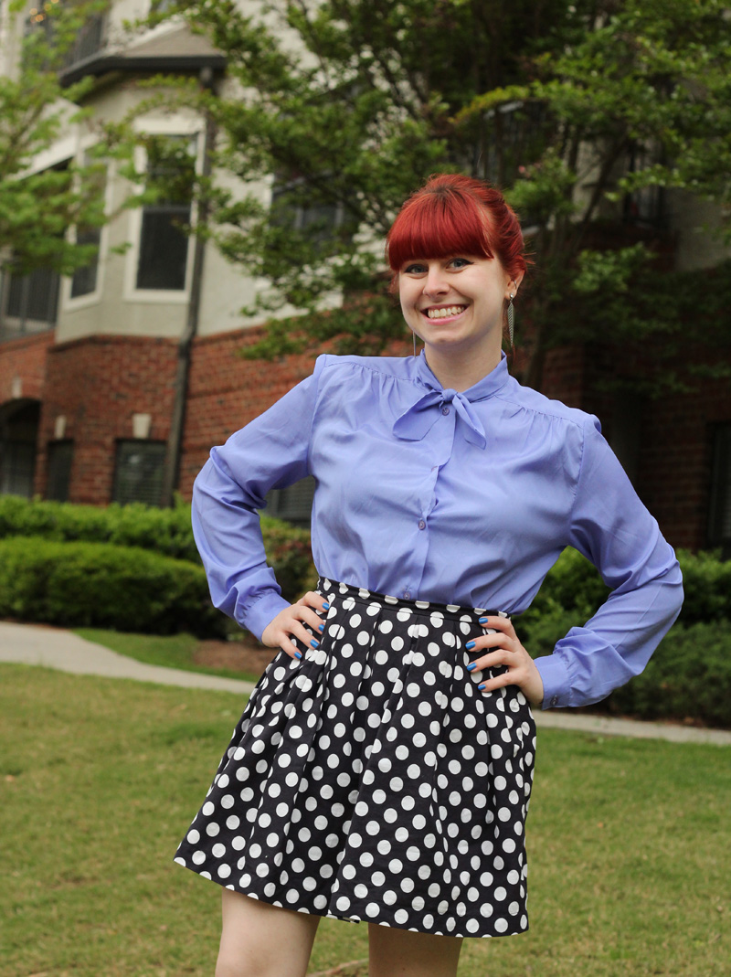 Light Purple Bow Neck Blouse with a Blue Polka Dot Pleated Skirt