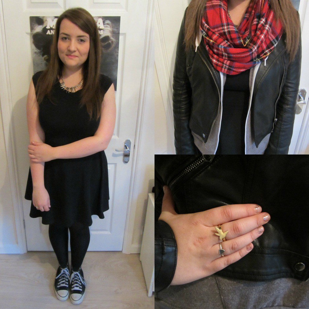 converse, tartan, uk blog, black skater dress, bikr jacket ...