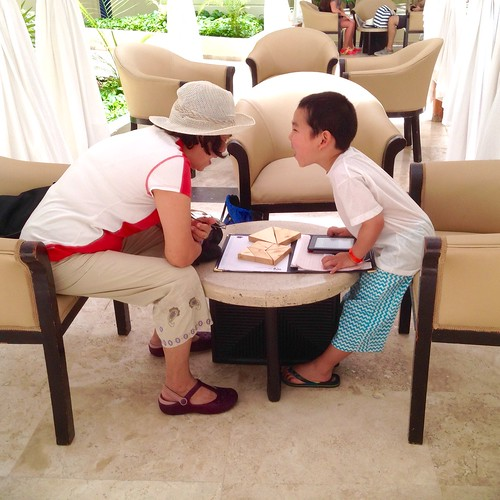 Reading a book to grandma