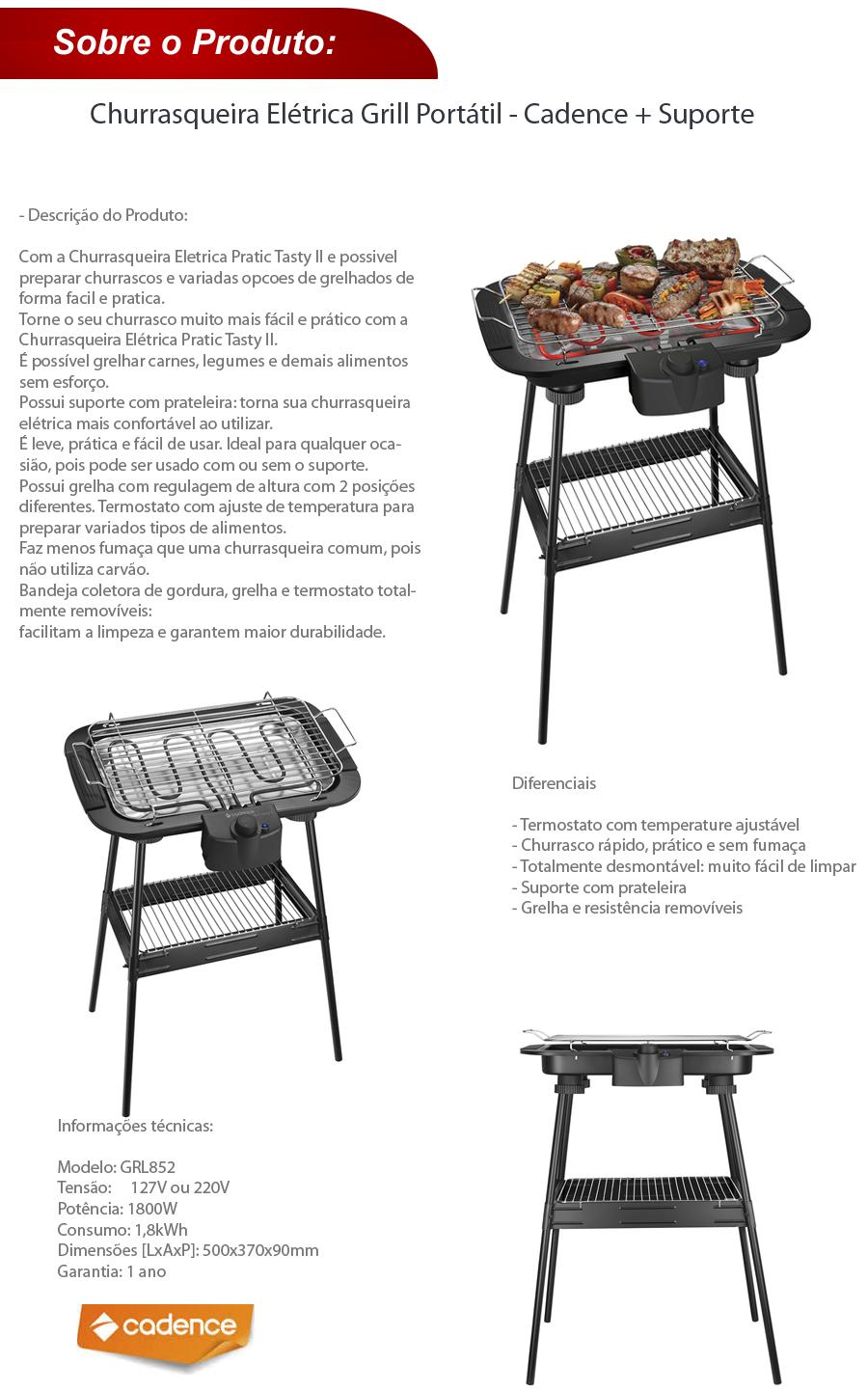 Churrasqueira Elétrica Grill Portátil - Cadence + Suporte