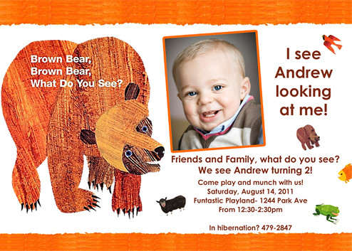 Brown Bear Eric Carle- Custom Birthday Invitation | www ...