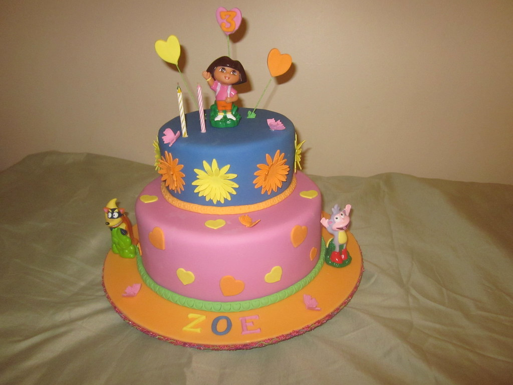 Dora Cake Recipe In English: Top Tier Is A Rich Chocolate Cake And