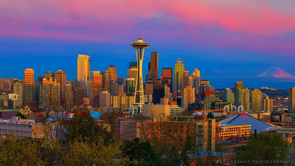 Seattle Washington Skyline Magic Hour Mountains And