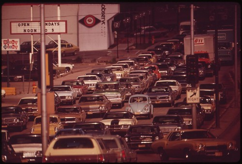 Traffic jam on Dodge Street, one of the city's main thoroughfares, May 1973 | by The U.S. National Archives