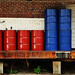 red and blue barrels