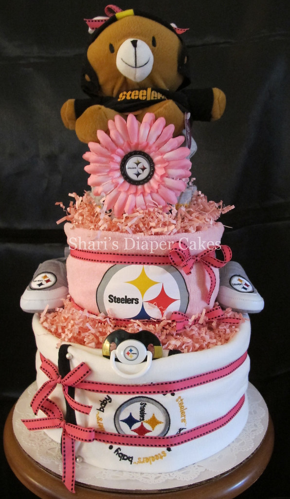 Baby Showers Pittsburgh ~ Pittsburgh steelers girl tier diaper cake a custom