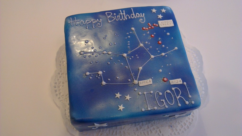 Virgo Star Constellation Cake Galazy Themed Virgo
