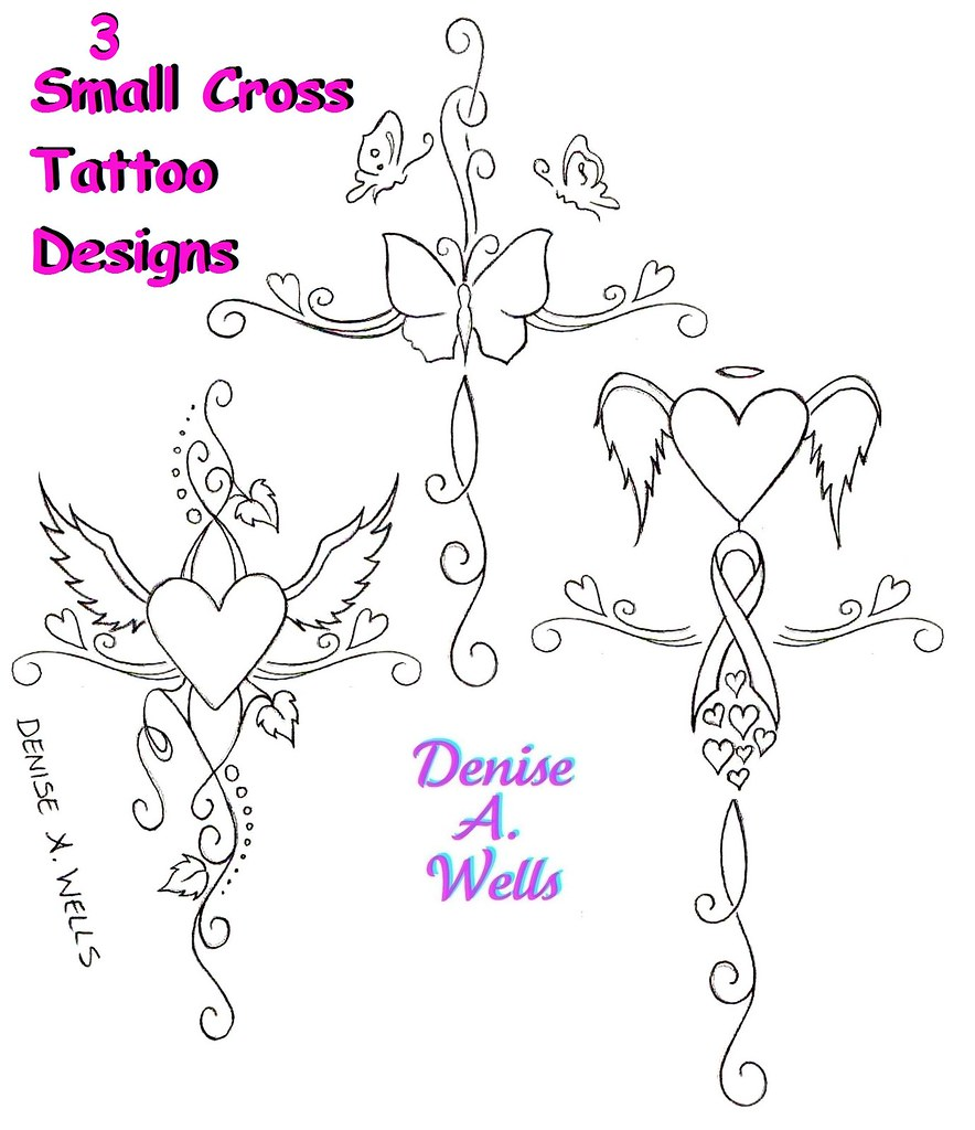 small girly cross tattoo designs by denise a wells flickr. Black Bedroom Furniture Sets. Home Design Ideas