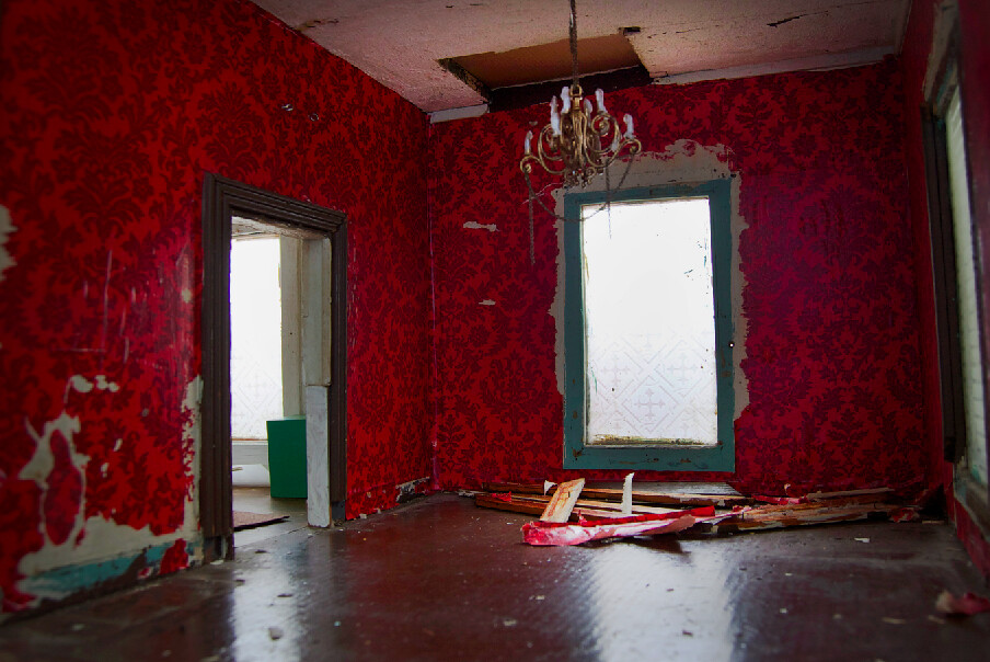 Red wallpaper in living room rehabbing an old house from for Red living room wallpaper