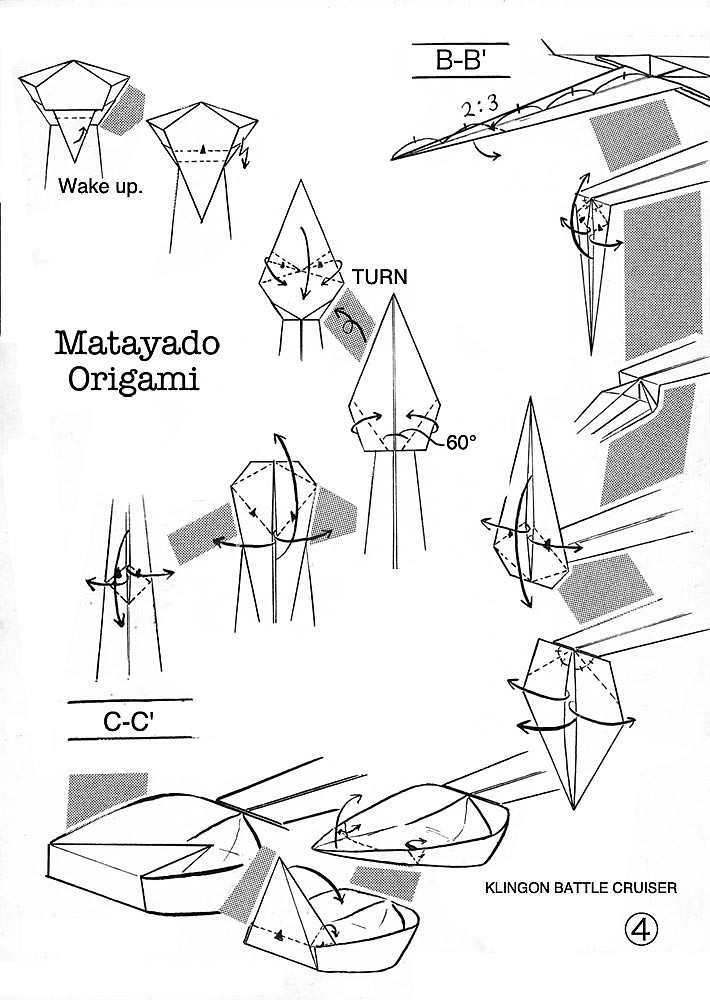 klingon battle cruiser origami diagram easy version 4
