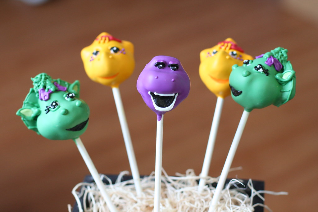 Barney Cake Pops