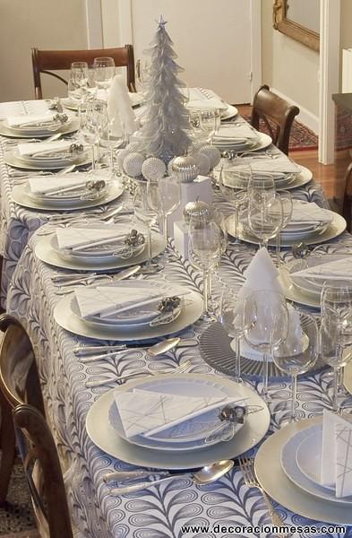 Decoracion mesa navidad blanco y plata 5 decoracionmesas - Adornos mesa de navidad ...