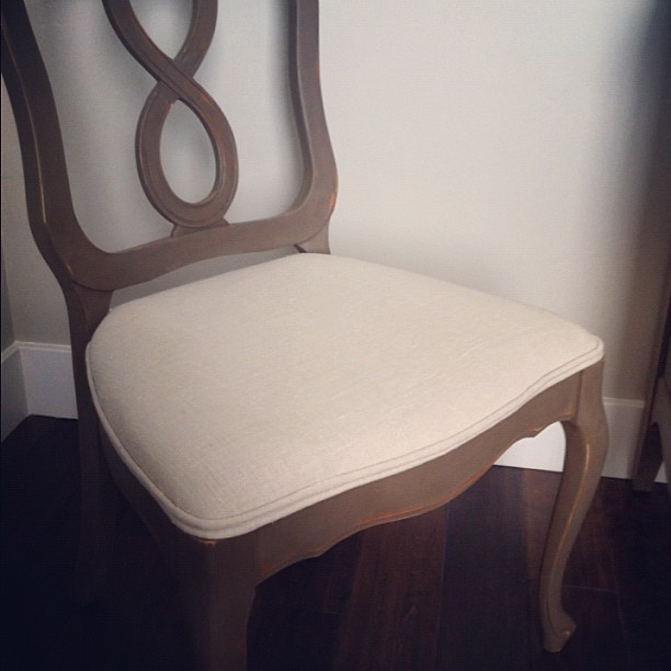 Dining chair redo painted using chalk paint then reuphols for How to redo dining room chairs