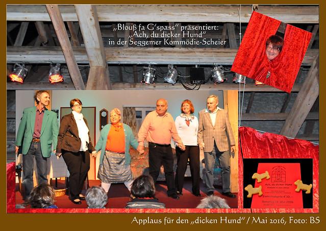 """Am Pfingstsamstag fand die Premiere der Komödie """"Ach, du dicker Hund"""" in der Komödien-Scheuner in Mannheim-Seckenheim statt. Vier weitere Auftritte werden folgen. Die Theatergruppe """"Blouß fa G'spass"""" präsentierte das Stück von Sabine Drössler in der """"Scheier"""", einer typisch Seckenheimer Tabakscheune in der Rastatter Straße in gewohnt witziger Manier und in kurpfälzischem Dialekt. Das begeisterte Publikum fühlte sich gut unterhalten und spendete lebhaften Applaus. Über zwei Akte entwickelte sich auf der Bühne die Geschichte rund um den Workaholic Anton Maier, der Gattin Luise und Tochter Anna schwer vernachlässigt und ständig versetzt, schließlich unter Mithilfe des Geschäftspartners Rainer, der Nachbarin Marie und dem Onkel und Hausarzt Dr. Otto, eine Lektion erhält, sich sich gewaschen hat, am Ende jedoch den Spieß umdreht und seinerseits für Verwirrung sorgt. Alles dreht sich um den """"dicken Hund"""", der mal sichtbar, mal unsichtbar, für allerlei Überraschung und Heiterkeit sorgt ... Applaus, Applaus - auch für den leckeren Sekt und den süffigen Cocktail """"Blouß fa G'spass"""", den es in der Pause gab. - Sehr nett fand ich, dass mein Buttergebäck (hier) in Form eines """"dicken Hundes"""" mitsamt Hundefressnapf in das Stück integriert wurde :-) Foto: Brigitte Stolle Mai 2016"""