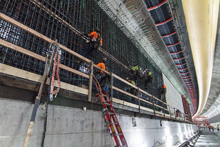 Building walls inside the SR 99 tunnel