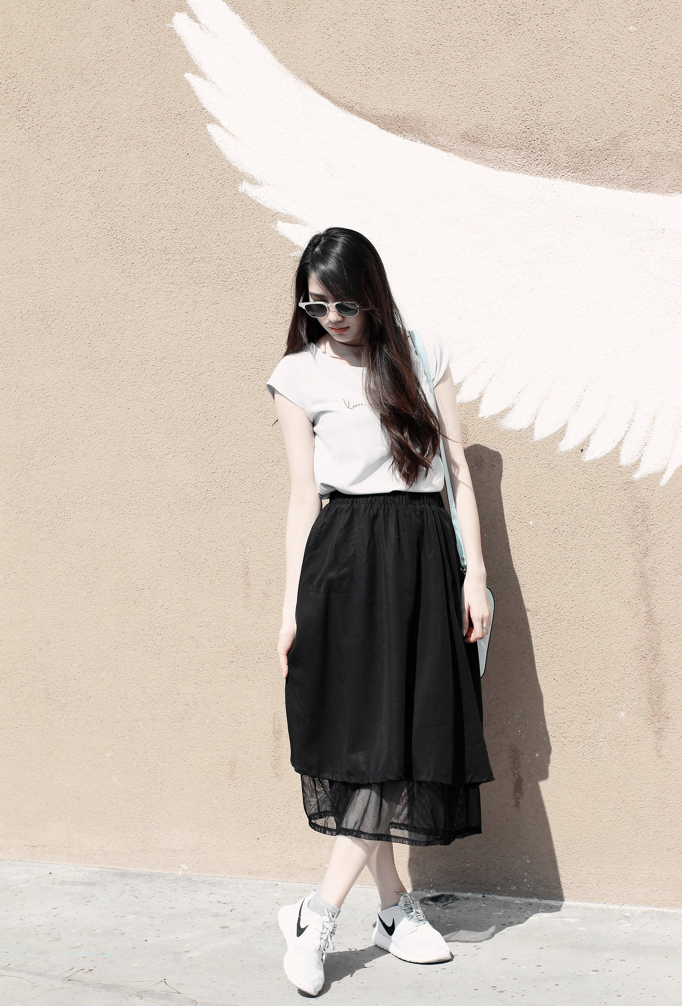 9844-black-midi-skirt-live-your-dream-chiffon-blouse-korean-summer-fashion