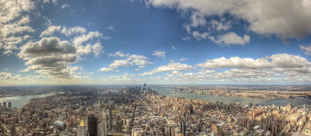 Panorama from the 102nd floor observation deck of the for 102nd floor empire state building