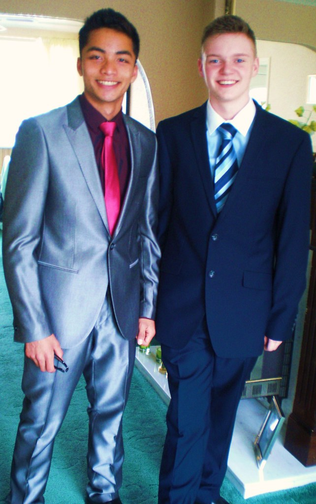 All sizes | Prom Suits shinny grey suits pink tie blue suits ...