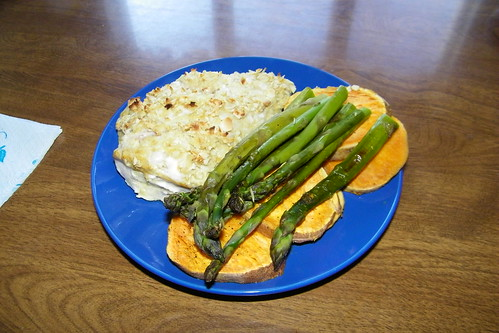296/365/1391 (April 2, 2012) – Almond-Crusted Chicken With Sweet Potatoes and Asparagus | by cseeman