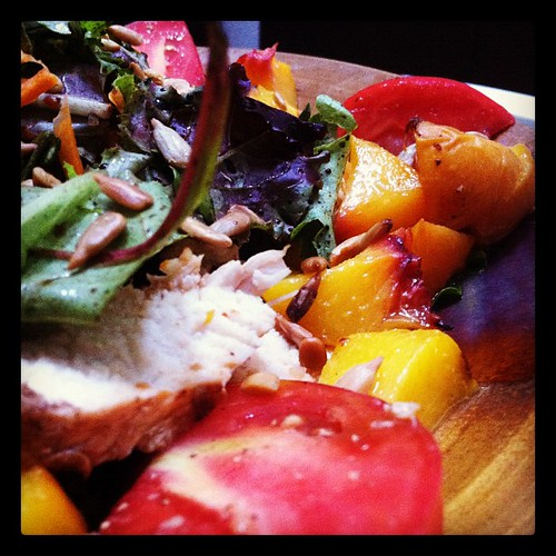 Grilled peaches, chicken and mushrooms with heirloom tomato salad. | by jasongraphix