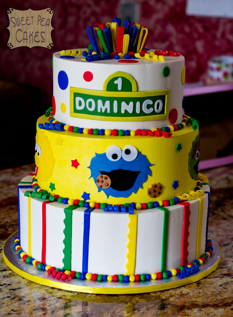 Sesame Street 1st Birthday | Three tier buttercream cake ...