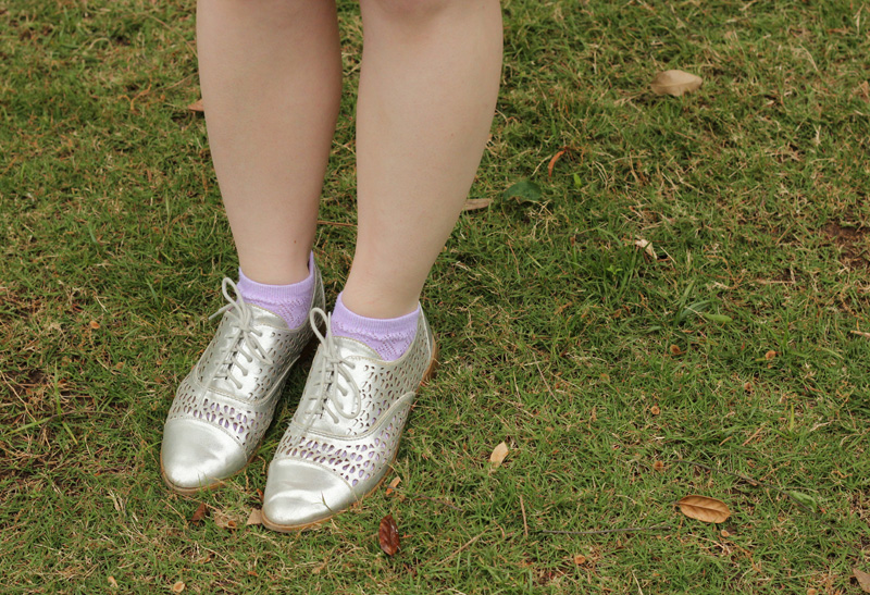 Silver Cutout Oxford Shoes with Purple Socks