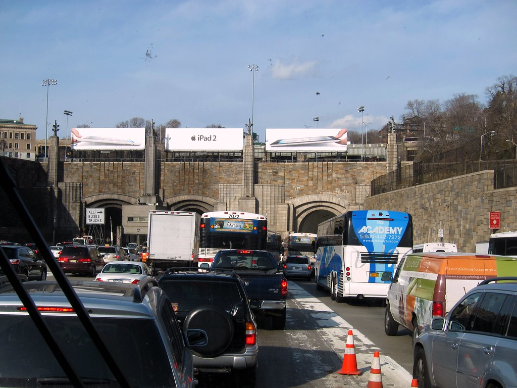Entrance To The Lincoln Tunnel Approaching The Nj