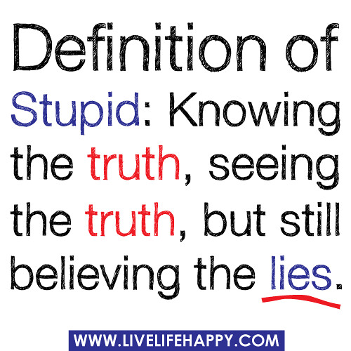 Definition Of Stupid Knowing The Truth Seeing The Truth