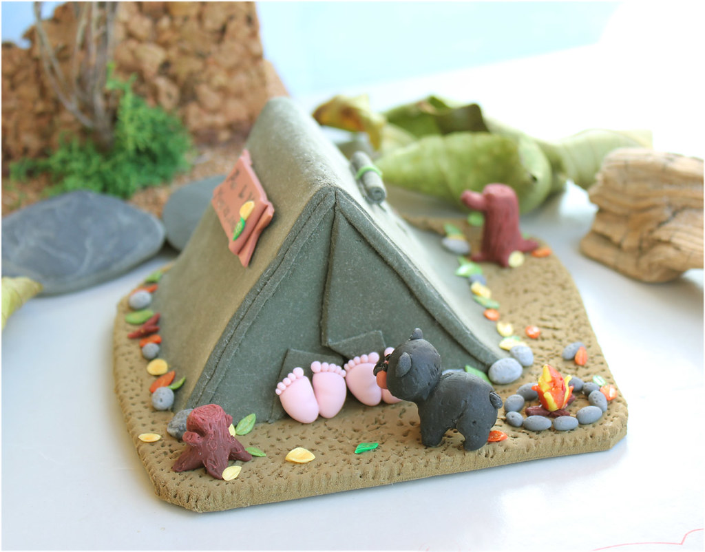 Funny Camping Wedding Cake Topper With Black Bear