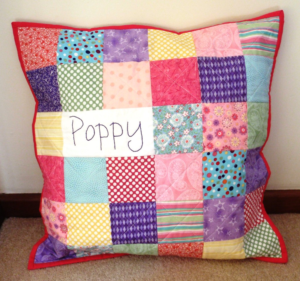 Personalised Patchwork Pillow - Poppy - front | Blogged