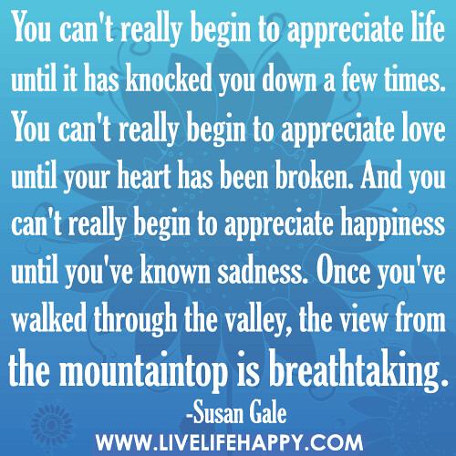 Appreciate Life Quotes: You Can't Really Begin To Appreciate Life Until It Has Kno