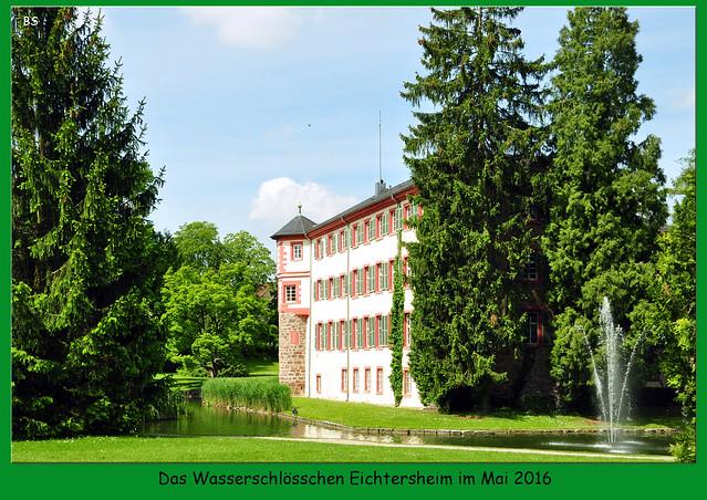 """Mai 2016: Die Fahrt ging von Mannheim aus über Schwetzingen, Walldorf, Wiesloch, Rauenberg ... nach Angelbachtal in den Ortsteil Eichtersheim. Hier befindet sich das Wasserschloss Eichtersheim aus dem 16. Jahrhundert. Erbaut wurde das Schlösschen durch die Freiherren von Venningen. Heute ist im Schloss das Rathaus, die Polizei und ein Restaurant untergebraucht. Sehenswert ist auch der Schlosspark, der im Stil eines englischen Landschaftsgartens angelegt und heute Landschaftsschutzgebiet ist. Hier findet man einen interessanten alten Baumbestand mit botanischen """"Spezialitäten"""". Im Schlosspark sind Werke des ortsansässigen Künstlers Jürgen Goertz zu besichtigen; diesen ist ein eigener Eintrag gewidmet. Fotos: Brigitte Stolle, Mannheim - Mai 2016"""