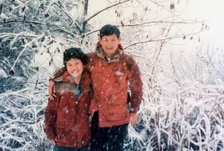 1986年展開合歡越嶺道踏查時,楊南郡徐如林留影。圖片來源:林務局提供