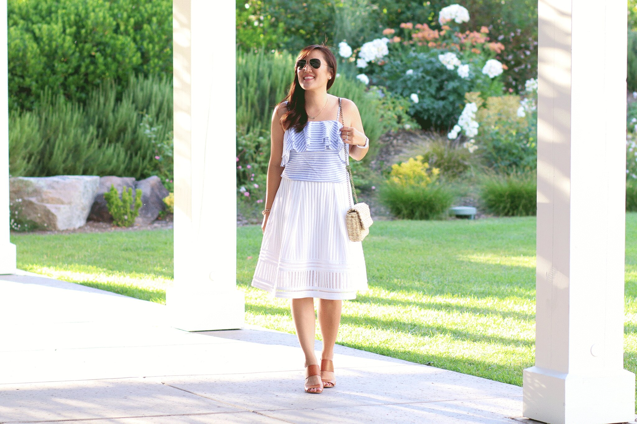 simplyxclassic, miriam gin, striped ruffle cami, white skirt, summer outfit, fashion blogger, woven bag, lifestyle blog, orange county