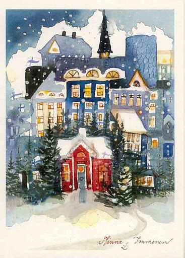 Minna immonen i would like to have this card yvonne Christmas card scenes to paint