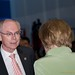 German Chancellor Angela Merkel and President Van Rompuy talking during the working session at the G20 Summit in Los Cabos, Mexico