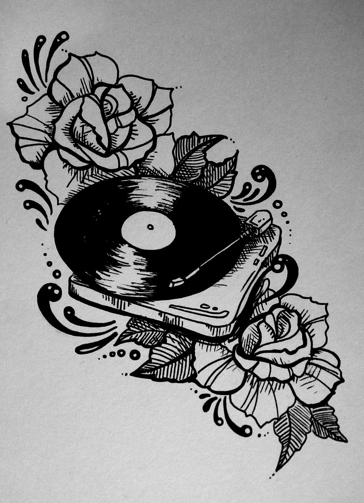 Record Player Roses Traditional Tattoo Style Illustratio