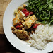 Greek-Style Halibut with Arugula Salad and Rice