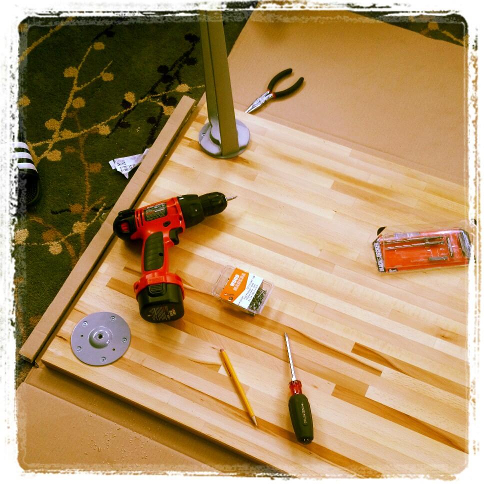Solid wood desk - Step 4: Screw | Ikea Lagan + Vika Inge ...