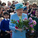 The Queen with well wishers during a visit to Valentines Park and Mansion