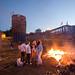 Bonfire, Teenagers, Pedestrian Overpass